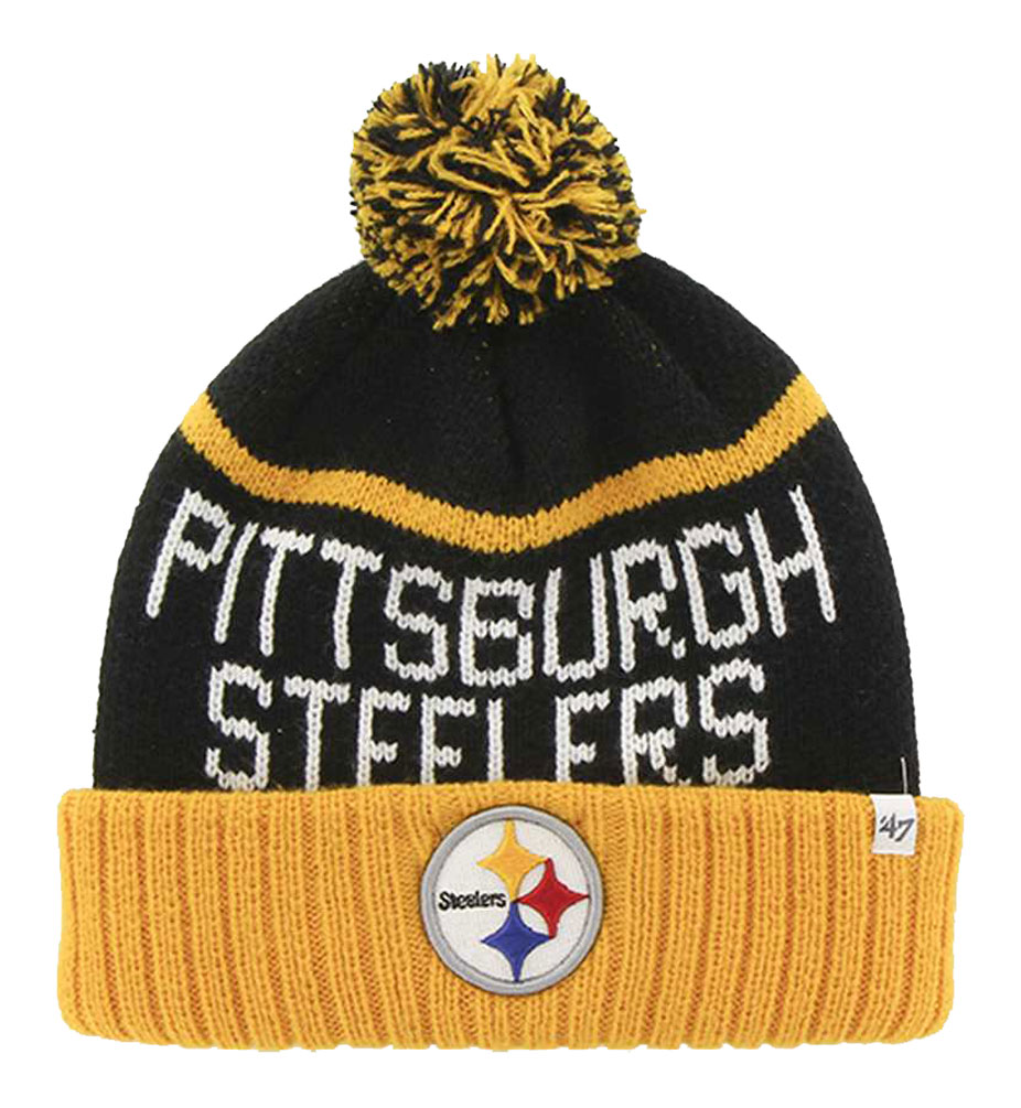 47 Brand Pittsburgh Steelers NFL Linesman Cuff Knit Cap, F-LINSM25ACE-BK