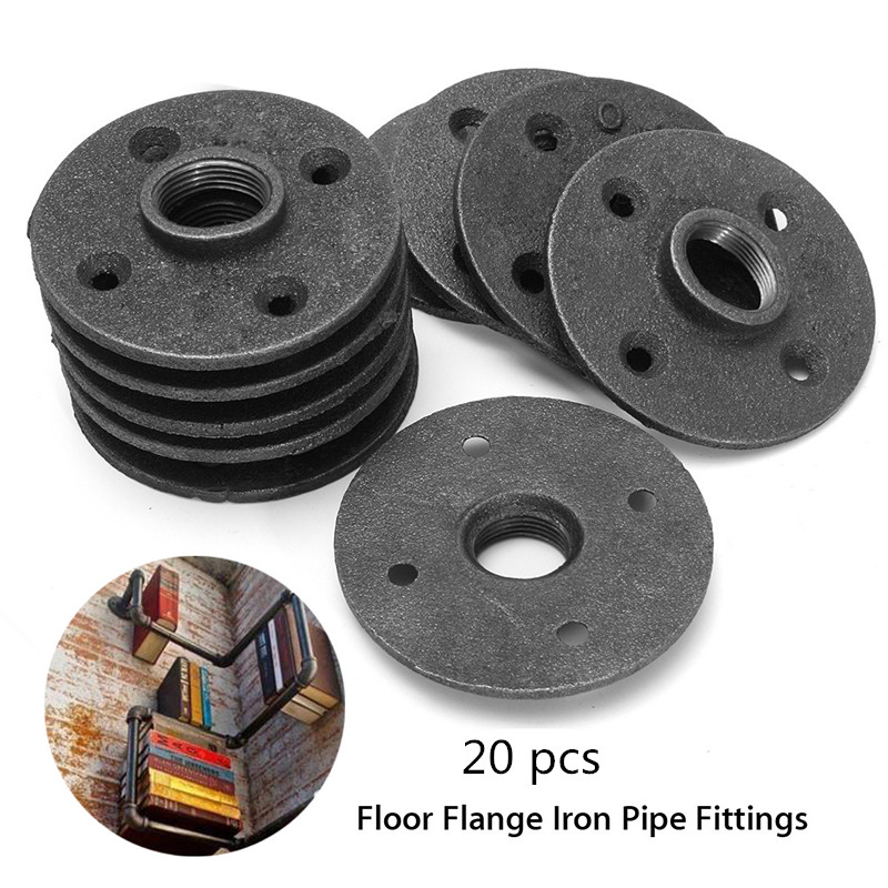 20 Pack 3/4'' 1/2'' Black Malleable Threaded Floor Flange Iron Pipe Fittings Wall Mounted