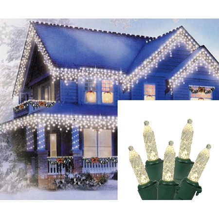 70 Warm White LED M5 Icicle Christmas Lights – 7.6 ft Green