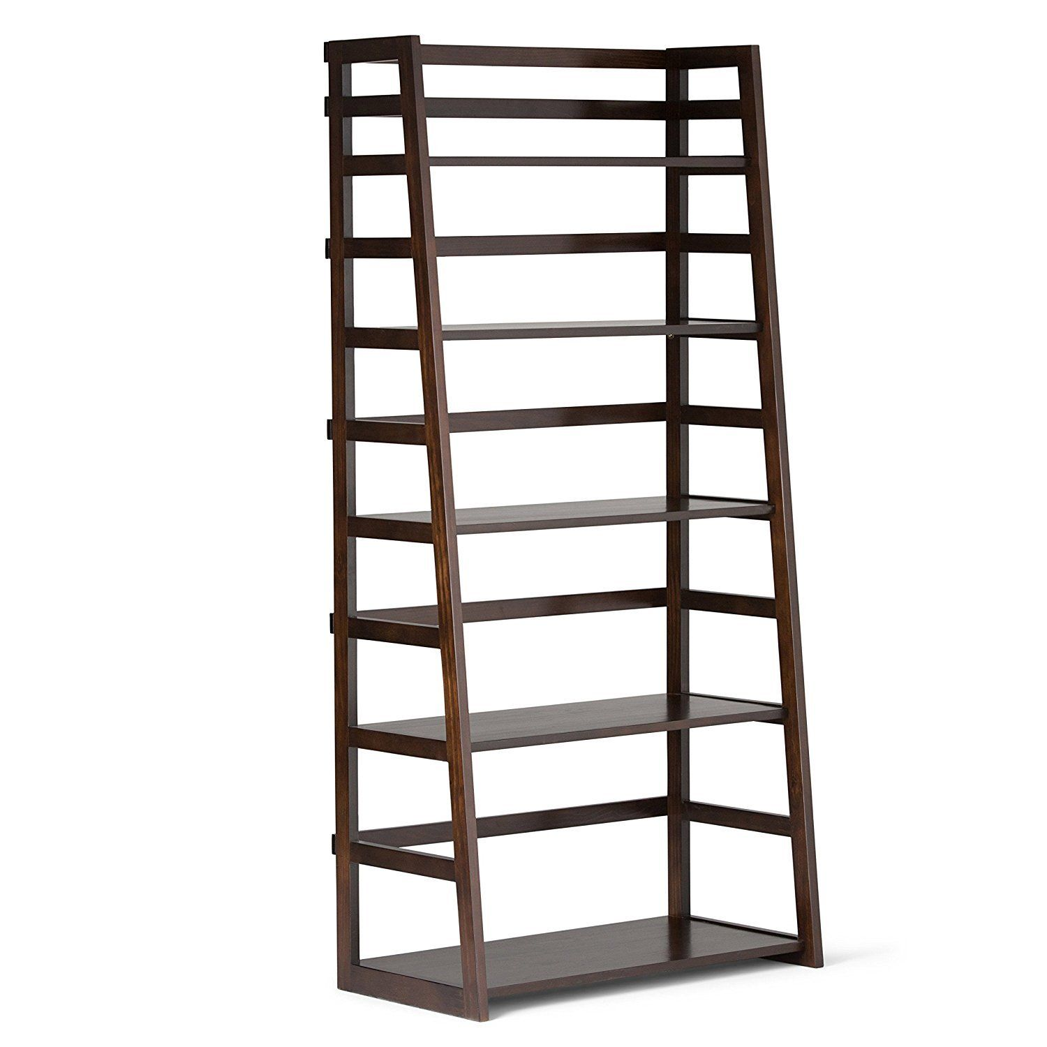 """GHP 16""""x30""""x63"""" Dark Tobacco Brown stain Wood 5-Tier Ladder Leaning Shelves Bookcase"""