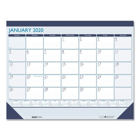 House of Doolittle 100% Recycled Contempo Desk Pad Calendar, 22 x 17, Blue, 2020 -HOD151 Doolittle Monthly Desk Pad