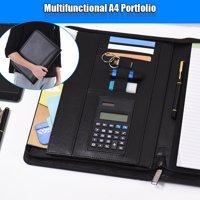 Multifunctional Professional Business Portfolio Padfolio Folder Document Case Organizer A4 PU Leather Zippered Closure with Calculator Card Holder Memo Note Writing Pad