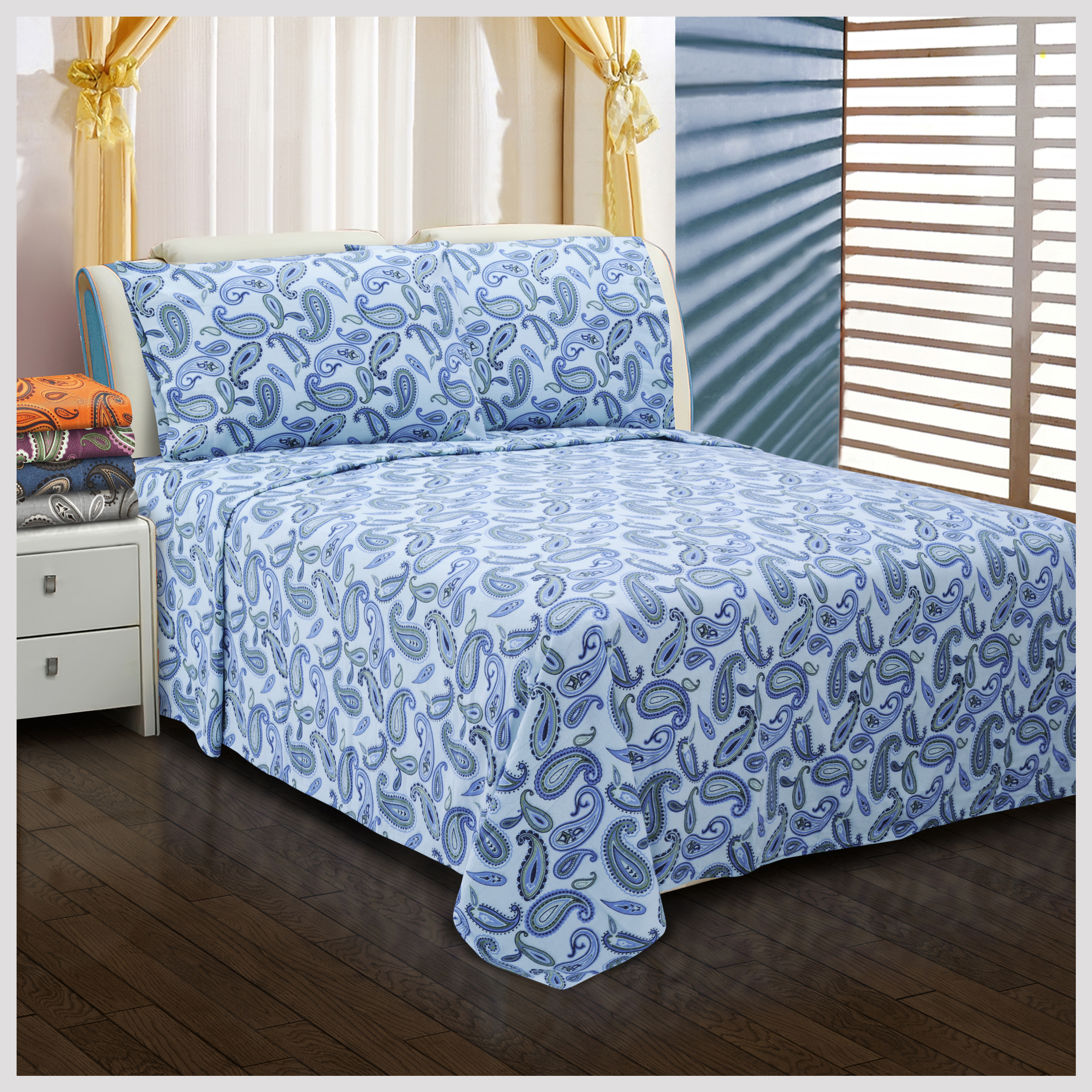 Superior Flannel Cotton Sheet Set - Full - Light Blue