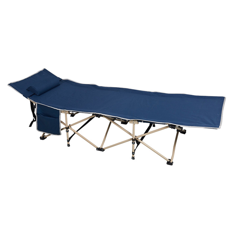 Folding Camping Bed Outdoor Portable Military Cot Sleeping Hiking Travel Easy to Carry with Bag and Pillow,Dark Blue by