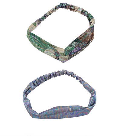 2 Oil Spill Metallic Rainbow Camouflage Twisted Knot Headwrap