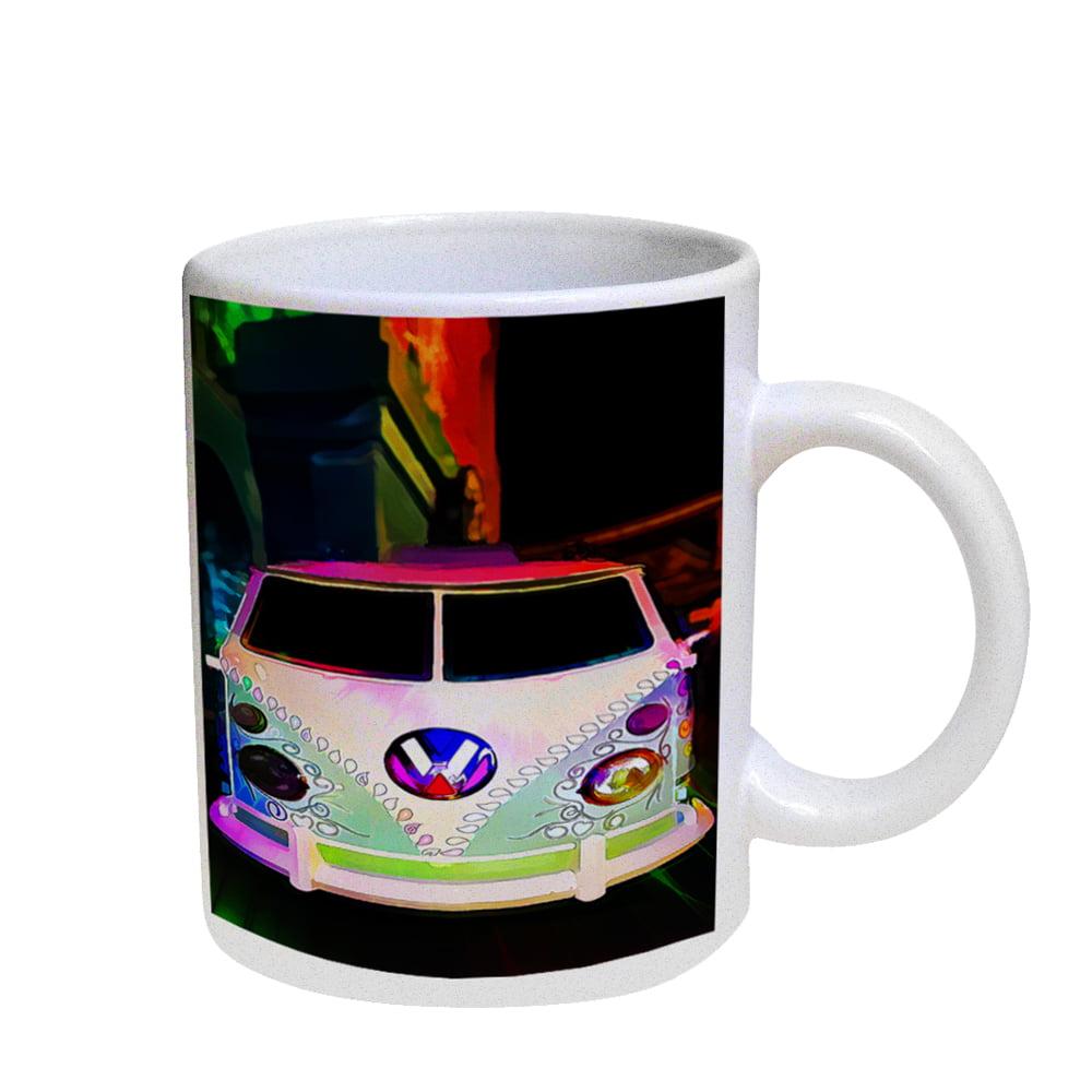 KuzmarK Coffee Cup Mug Pearl Iridescent White - Volkswagon Van Watercolor