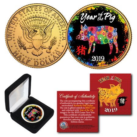 2019 Lunar New YEAR OF THE PIG 24K Gold Plated JFK Half Dollar Polychrome BOX (Kennedy Bay Of Pigs)
