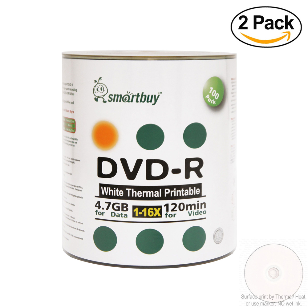 200 Pack Smartbuy 16X DVD-R 4.7GB 120Min White Thermal Hub Printable Data Blank Media Recordable Disc
