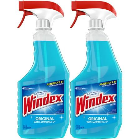(2 Pack) Windex Glass Cleaner Trigger Bottle, Original Blue, 23 fl oz - Nurd Glasses