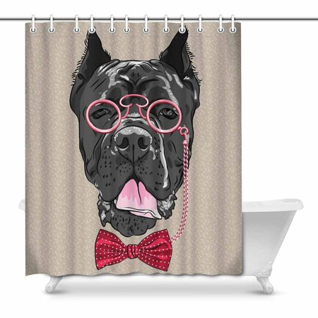 MKHERT Hipster Dog Cane Corso Breed with Glasses and Bow Tie Decor Waterproof Polyester Fabric Shower Curtain Bathroom Sets 66x72 inch ()