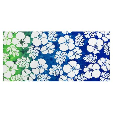 Hibiscus Blue Printed Soft Beach Towel - White, 30 x 60 inches 16794 (Blue Hibiscus Beach Towel)