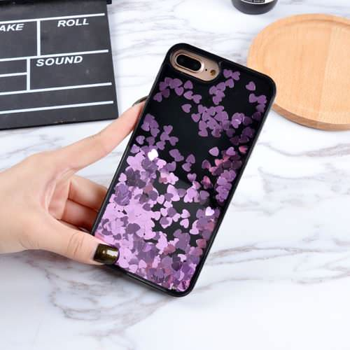 Black Floating Hearts Liquid Waterfall Bling Glitter Case Cover For iPhone 7 4.7""