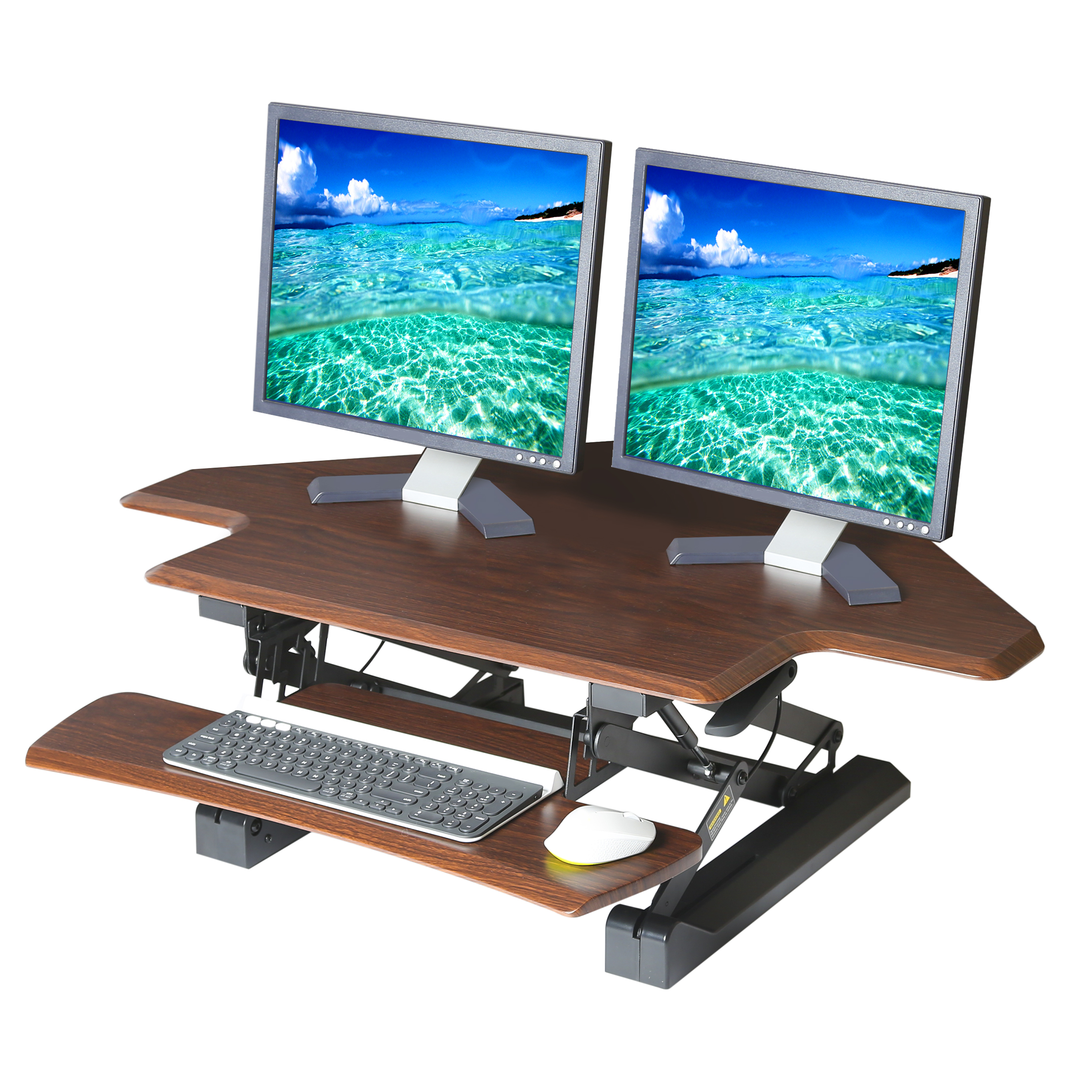 "Seville Classics AIRLIFT Corner Cubicle Gas-Spring Dual-Monitor Riser Standing Desk Converter with Keyboard Tray and Phone Holder, 43"" x 31"" Height Adjustable to 19.7"", Walnut"