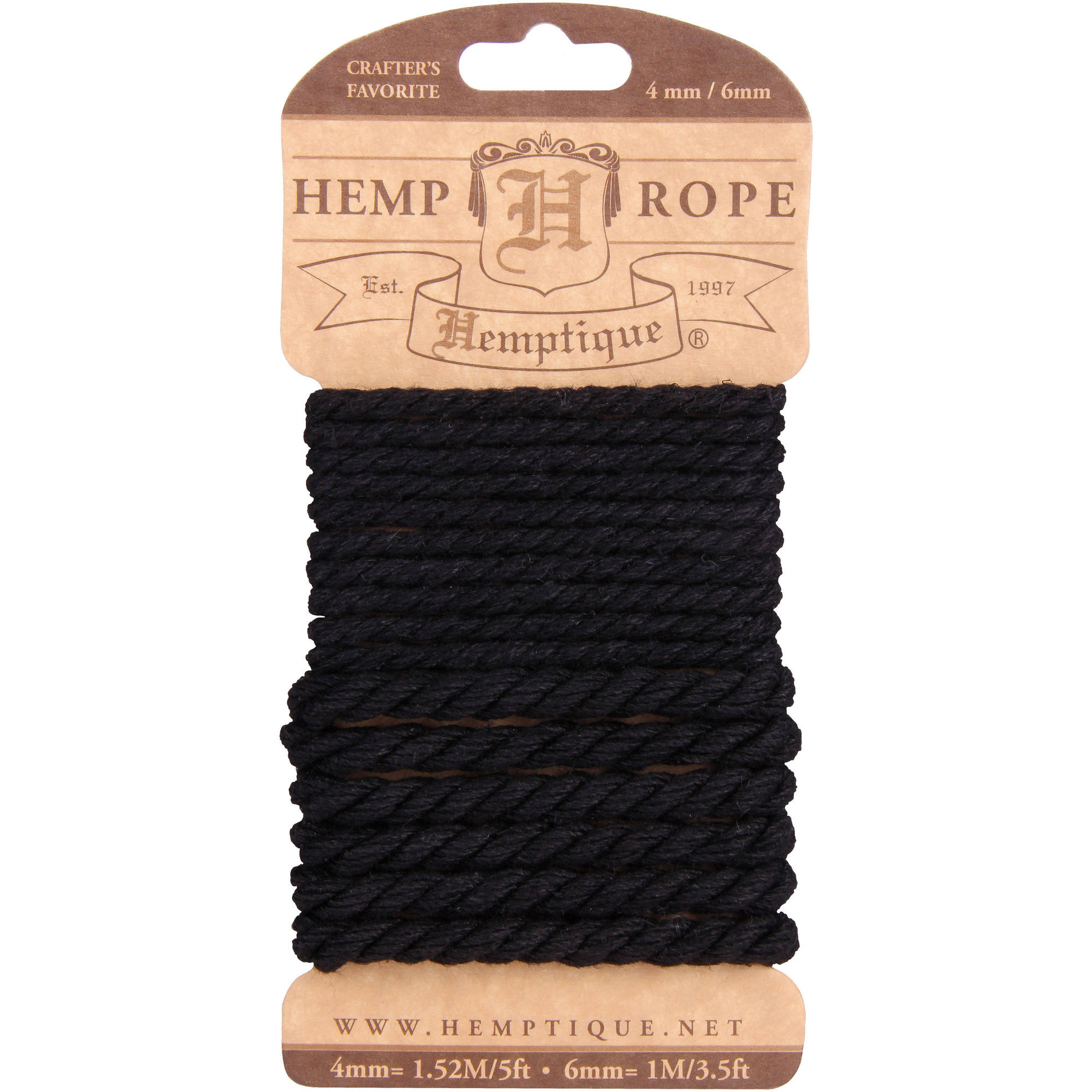 Hemp Rope Set 4mm and 6mm, Black
