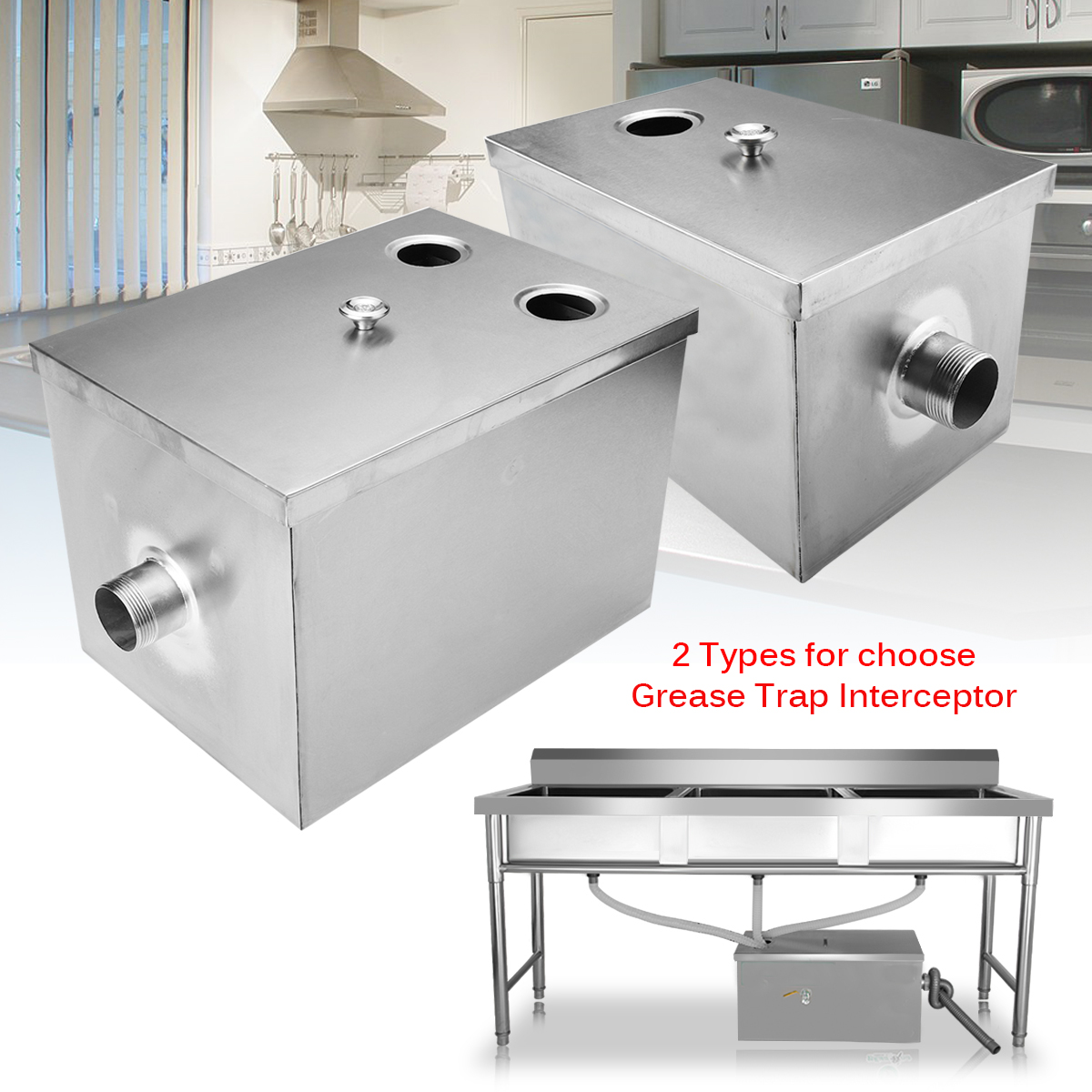 """12/14"""" Commercial Grease Trap 5GPM Gallon Per Minute Stainless Steel Interceptor Filter Kit for Restaurant Kitchen Wastewater Home Hotel"""