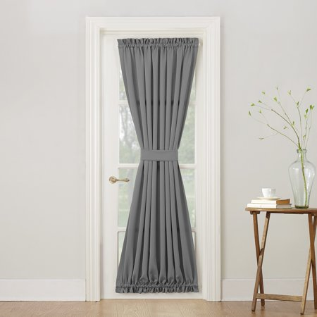 Sun Zero Bartlett Rod Pocket Room Darkening Curtain Door Panel - Ribbon Door Curtain