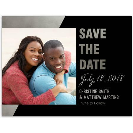 Gilded Geometric Wedding Save the Date Postcard