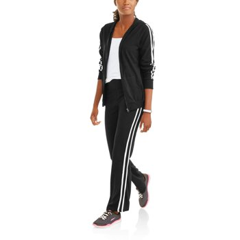 Women's Active Sporty Striped Full Zip Hoodie and Pant Tracksuit