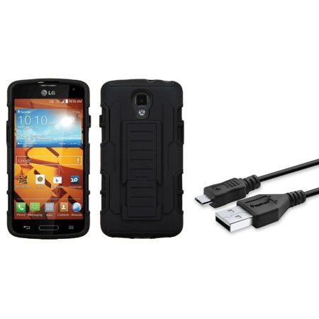 Insten Black/Black Hybrid Car Armor Stand Protector Phone Cover Protective Case For LG Volt LS740 (+Micro USB Cable) ()