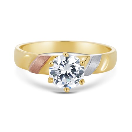 14K Tri Color Solid Gold 1 Ct. Round Cut Solitaire Cubic Zirconia CZ Wedding - ENGAGEMENT RING ONLY - size 8.5 (Tri Peaks Solitaire Halloween)
