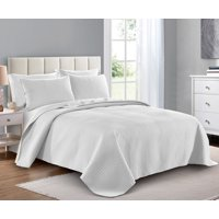 Quilt Set Full/Queen Size White - Oversized Bedspread - Soft Microfiber Lightweight Coverlet for All Season - 3 Piece Includes 1 Quilt and 2 Shams, Square Pattern