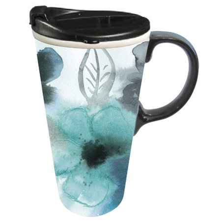 Cypress Home Ceramic Watercolor Floral Travel Coffee Mug, 17 ounces ()