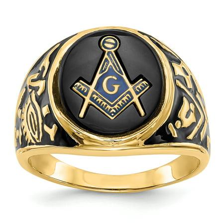 14K Yellow Gold Men's Masonic Ring - image 3 of 3