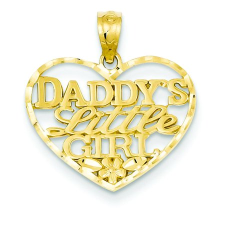 Little Girl Birthstone Charm - 14K Gold Diamond Cut Daddys Little Girl Heart Pendant Charm Jewelry