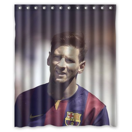 DEYOU Lionel Messi Barca Sports Soccer Shower Curtain Polyester Fabric Bathroom Size 66x72 Inch