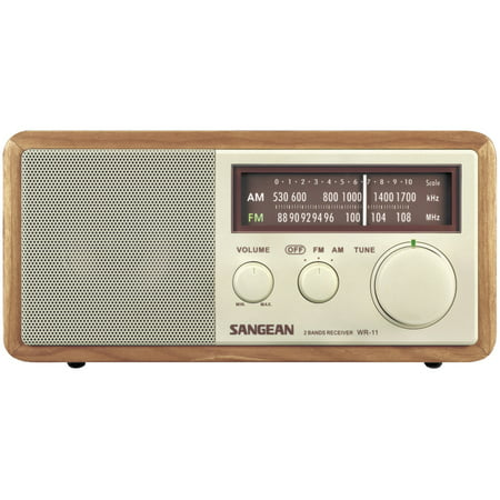 Sangean WR11 Wood Cabinet AM/FM Tabletop Radio