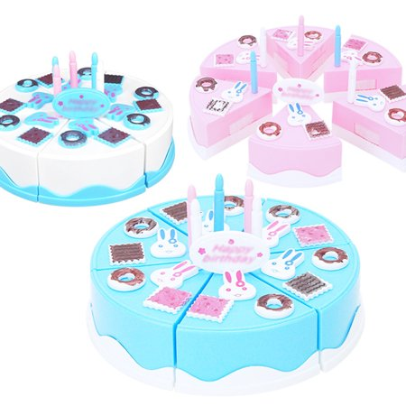24Pcs Plastic Kitchen Cutting Toy Pretend Play Food Assortment Toy Set Birthday Cake for Kids DIY Style:Pink - image 3 de 6