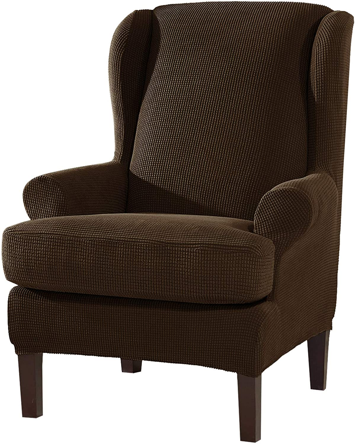 Soft Stretchy Wingback Chair Slipcover Furniture Cover Protector 2Piece