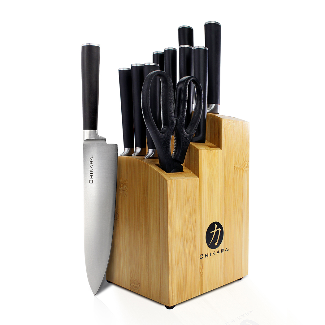 Ginsu Gourmet Chikara Series Forged 12-Piece Japanese Steel Knife Set – Cutlery Set with 420J Stainless Steel Kitchen Knives – Bamboo Finish Block, COK-KB-DS-012-1