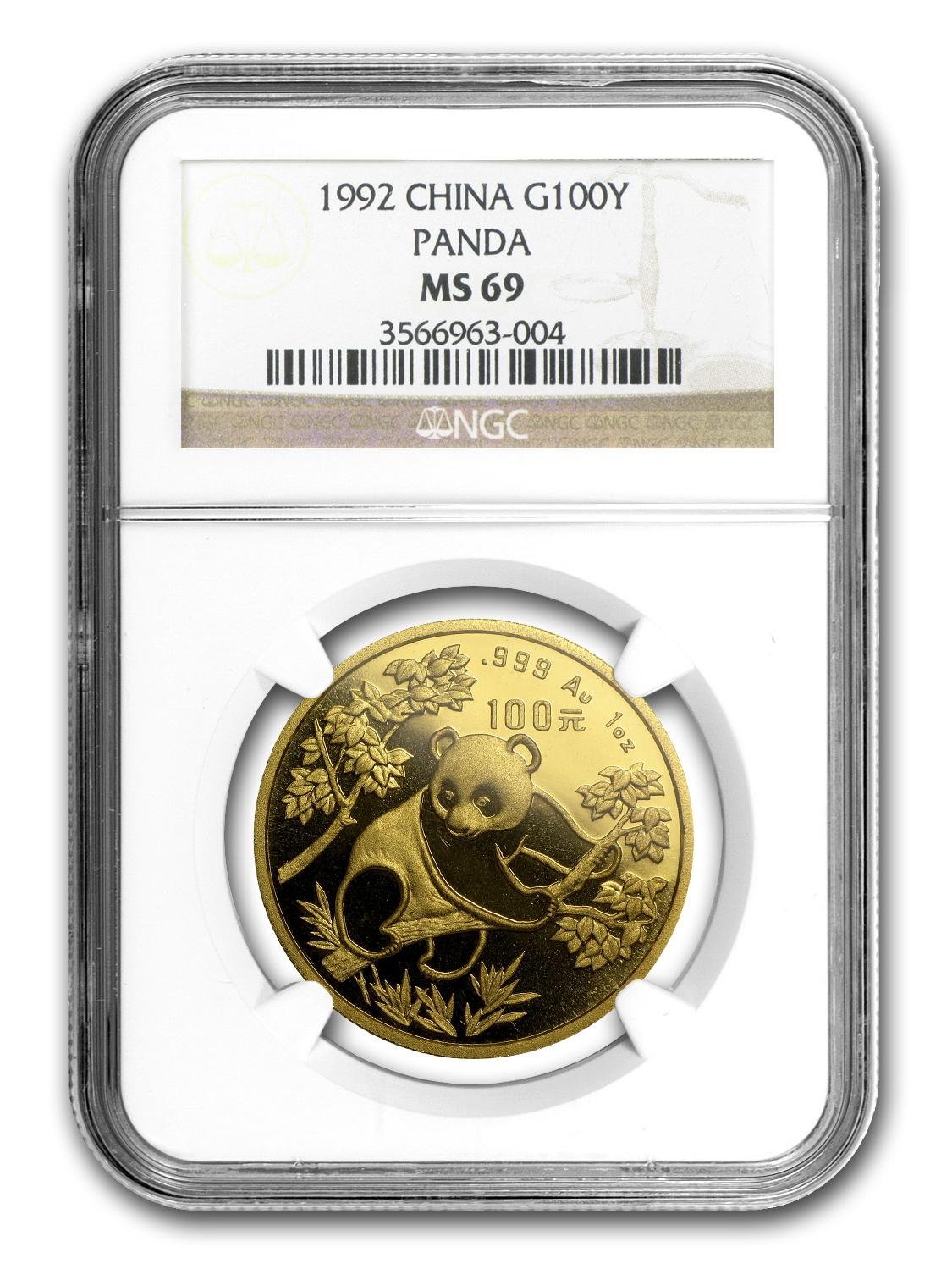 1992 China 1 oz Gold Panda Small Date MS-69 NGC