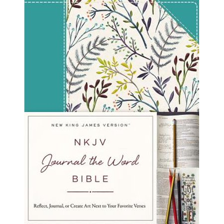 NKJV, Journal the Word Bible, Hardcover, Blue Floral Cloth, Red Letter Edition : Reflect, Journal, or Create Art Next to Your Favorite