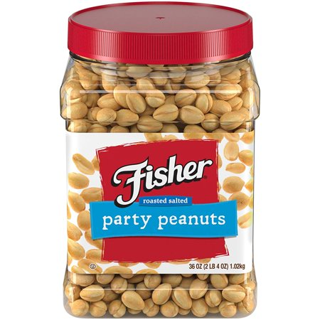Fisher Snack Party Peanuts, Gluten Free, 36 oz Tub Good Source of Vit.