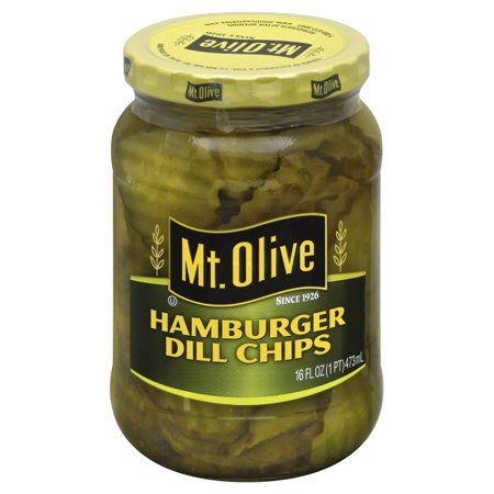 (3 Pack) Mt. Olive Hamburger Dill Chips Pickles 16 fl. oz. Jar