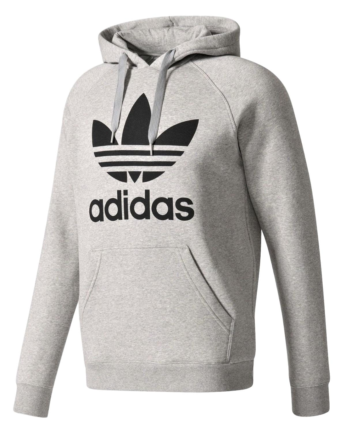 New Mens Adidas Original Mens Trefoil Fleece Hoodie Hooded Sweatshirt Pullover Jumper Gray