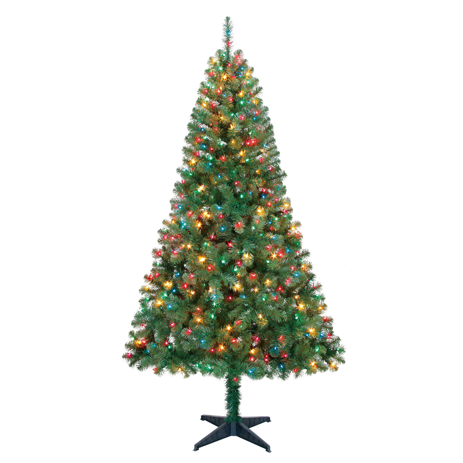 Holiday Time Pre-Lit 6.5' Madison Pine Green Artificial Christmas Tree, Multi-Lights