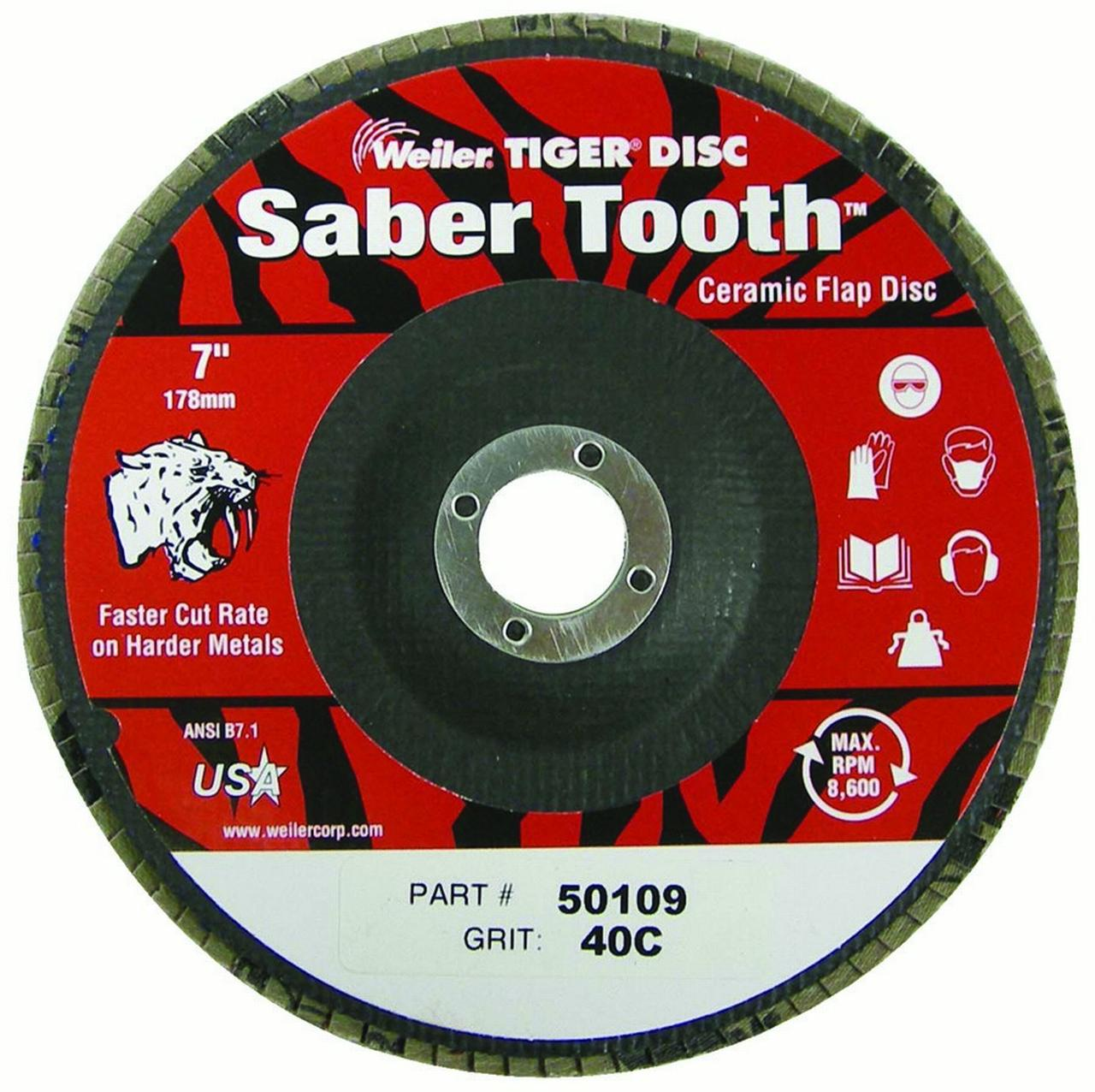 Saber Tooth Ceramic Flap Discs, 4 1/2 In, 36 Grit, 5/8 Arbor, 13,000 Rpm