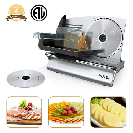 "Meat Slicer Blades (Food Slicers for Home Use, Mliter Electric Food Slicer 150 Watt for Home Use with 7.5"" Stainless Steel Blade, Thickness Adjustable For Bread Cheese Vegetables Fruits)"
