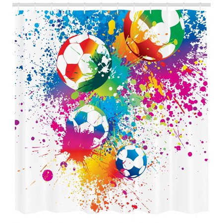 Soccer Shower Curtain Colored Splashes All Over Balls Score World Cup Championship Athletic Artful