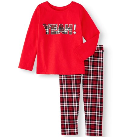 Outfits For Girl (Garanimals Toddler Girls Long Sleeve Graphic T-Shirt and Print Jeggings, 2-Piece Outfit)