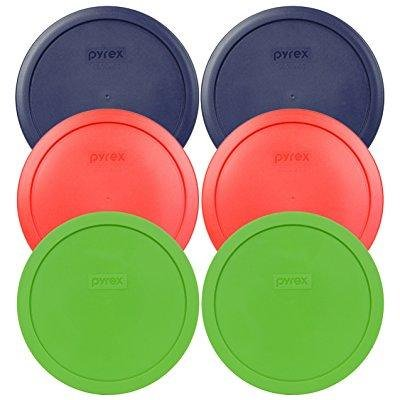 Pyrex 7402-PC Round 6/7 Cup Storage Container Lids for Glass Bowls 2-Blue, 2-Green, 2-Red ()