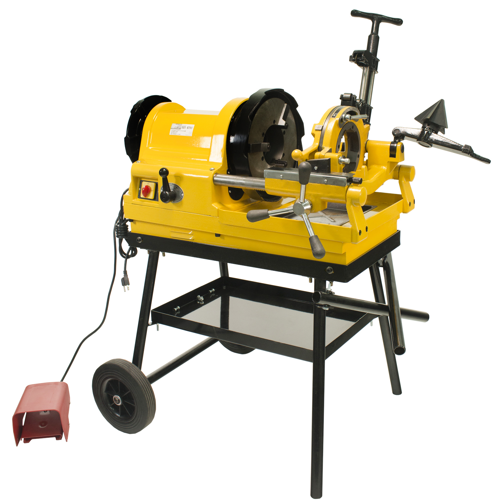 Steel Dragon Tools®  6790 Power Pipe Threader Threading Machine 1/2in. - 4in. Capacity with Foot Switch Self-Oiling Die Head and Cart