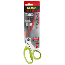 "Scotch 8"" Precision Ultra Edge Bent Scissors, Titanium, Stainless Steel, Comfort Grip Handle"