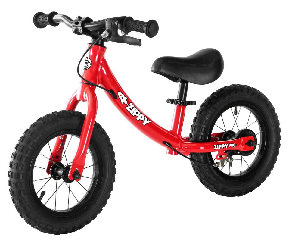 """ZIPPY PRO PLUS Advanced Training Running Balance Bike - 12"""" wheels with Rear Brake and Pneumatic Tires, No Pedals - Lightweight Aluminum Bicycle Toddlers ..."""