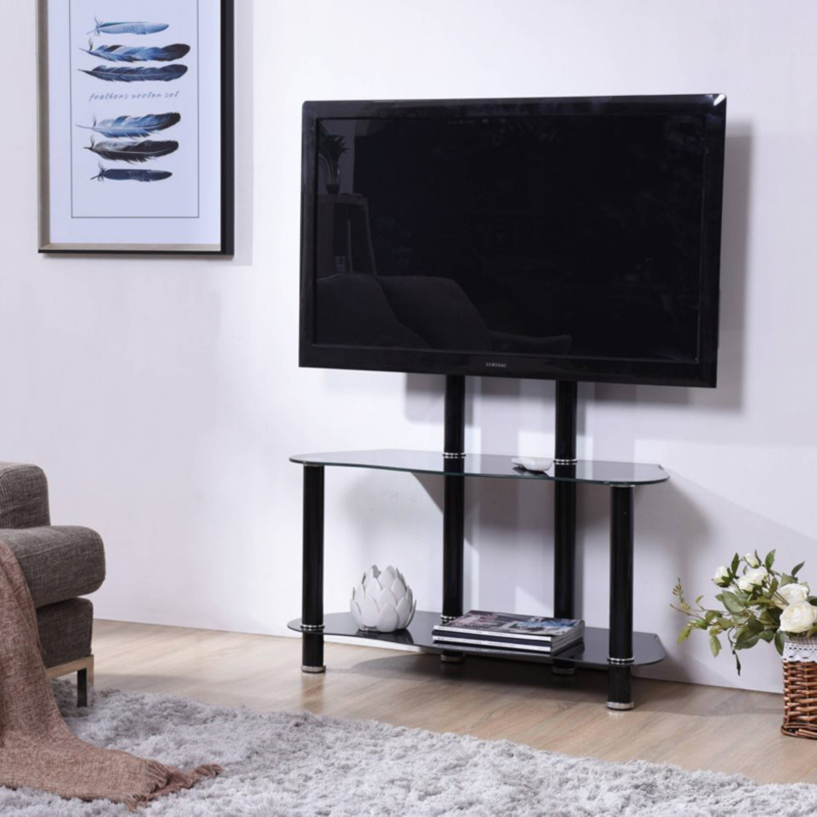 Hodedah Imports 35 in. TV Stand with Mount