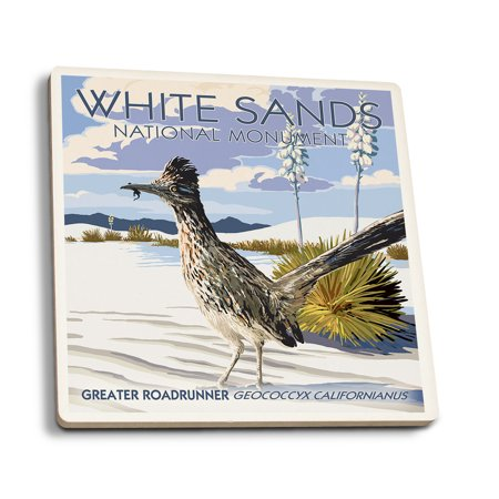 White Sands National Monument  New Mexico   Roadrunner   Lantern Press Artwork  Set Of 4 Ceramic Coasters   Cork Backed  Absorbent