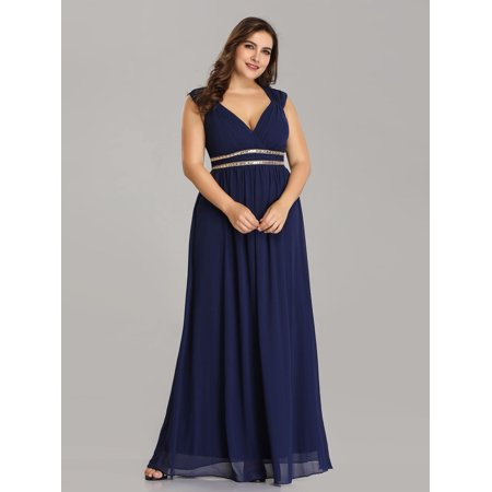 Ever-Pretty Women's Plus Size Elegant Cap Sleeve Chiffon Long Bridesmaid Wedding Party Evening Dresses for Women 08697 US